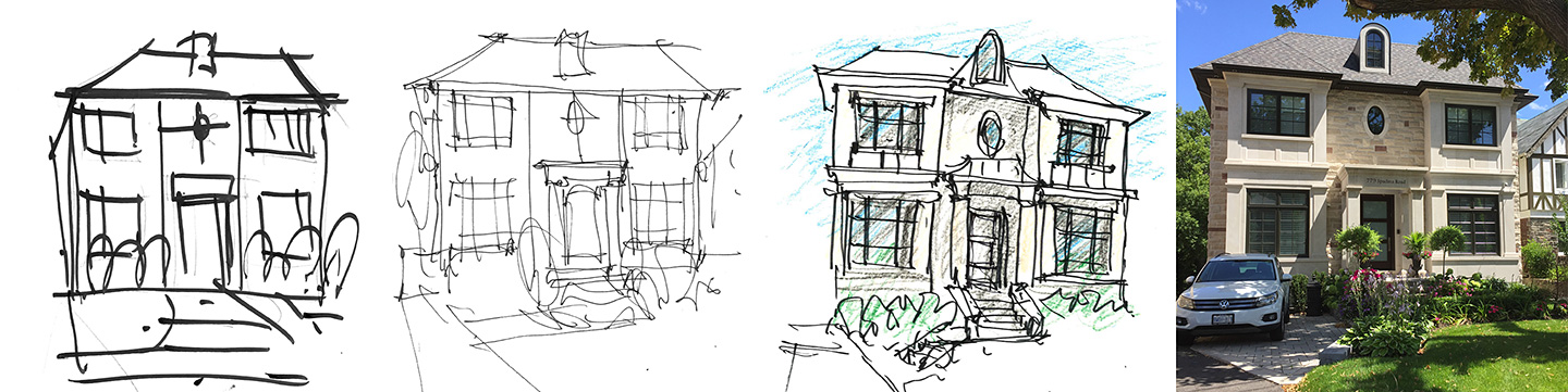 From initial sketch to actual building